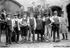 Picture of the Upottery Fire Crew, Devon.  Date unknown.