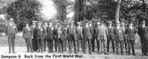 Picture of 20 World War I venerans returning home to Upottery, Devon.