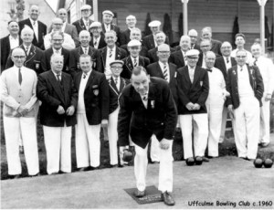 Picture of the Uffculme Bowls Club members c. 1960