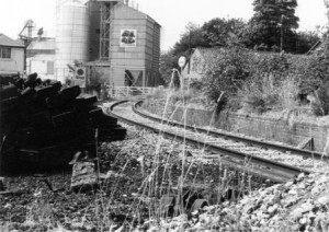 Picture of Culm Railway lines heading towards Lloyd Maunder feed mill in Uffculme, Devon.  Possibly pre-1963?