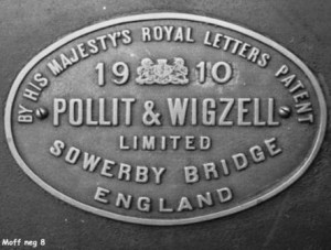 Picture of Pollit and Wigzell engine plate dated 1910