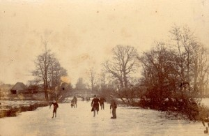 Undated picture of people skating onthe River Culm, Devon.
