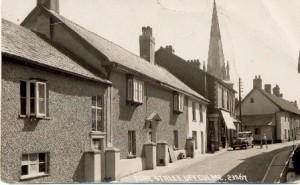 A post card showing Fore Street, Uffculme in Devon.