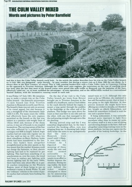 Culm Valley Railway. From Railway Bylines, June, 2003-1