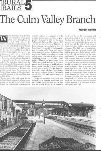 Culm Valley. Excerpt from Steam Days Mag., 1993. (1)-1