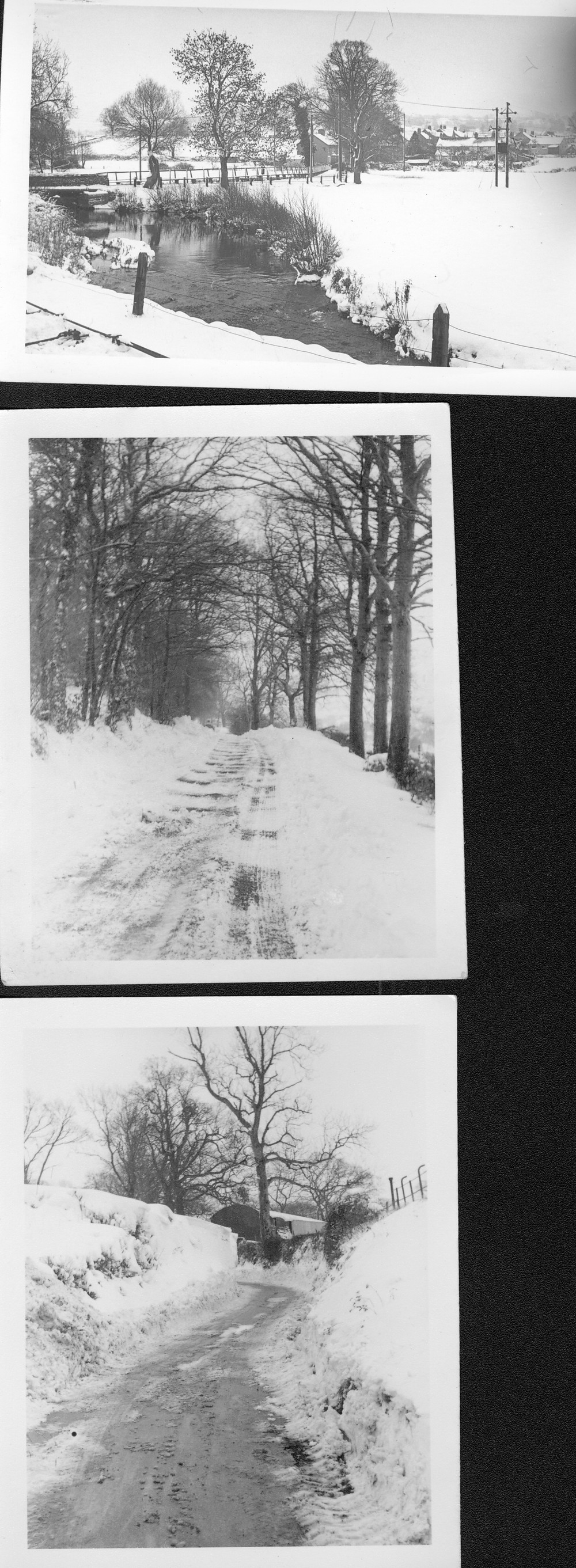 More snow scenes @ Hemyock including  the old  pedestrian footbridge, 1962..-1